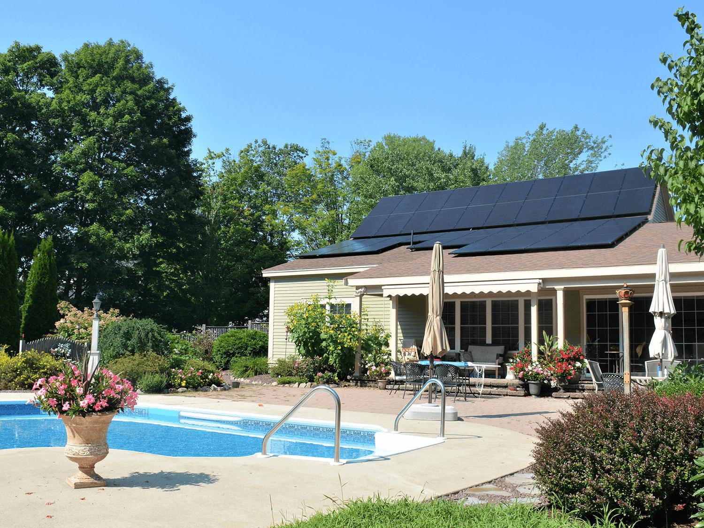 Solar-Panel-On-Roof-Near-Pool
